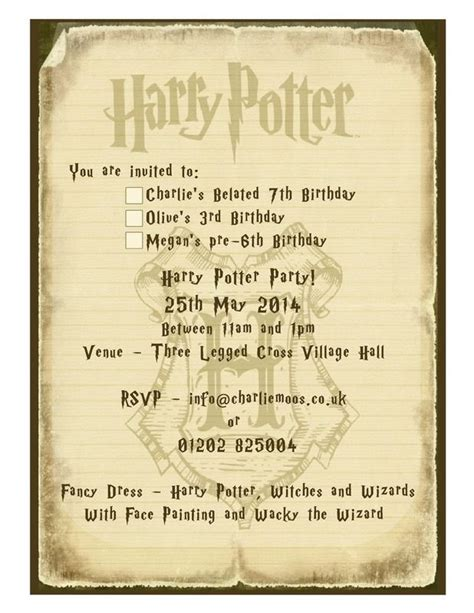 harry potter invitation template our harry potter