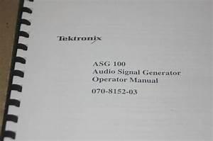 Tektronix Asg 100 Audio Signal Generator Operator