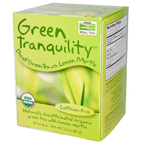 is green tea caffeine free now foods real tea organic green tranquility decaf green tea caffeine free 24 tea bags 1