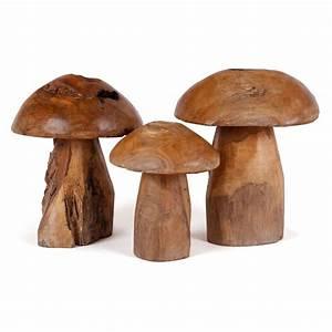 Walaba Holz Kaufen : teak dekopilze set 3 teilig h he ca 25 30 35 cm ~ Markanthonyermac.com Haus und Dekorationen