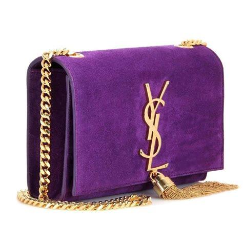 saint laurent ysl purple suede small monogram tassel bag lyst