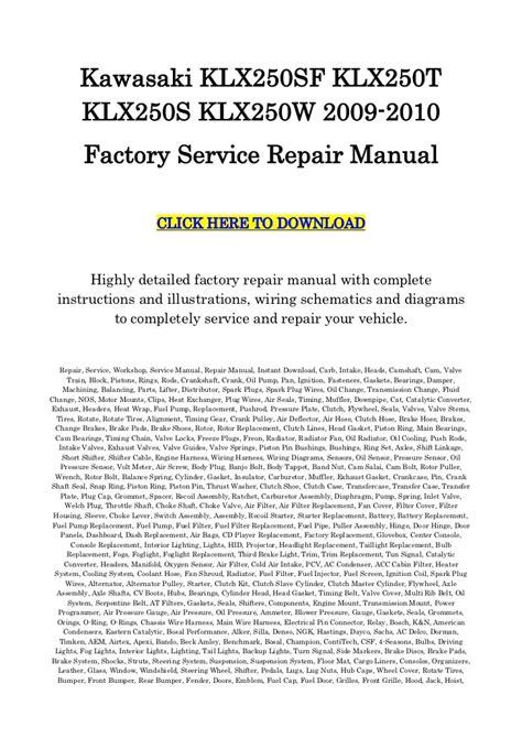 kawasaki klx250 repair service manual 2009 2010