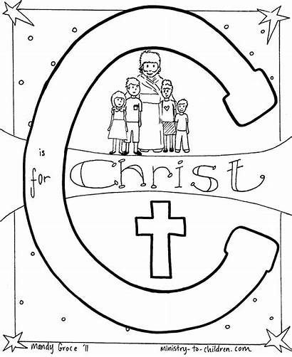 Coloring Pages Bible Christian Alphabet Christ Printable