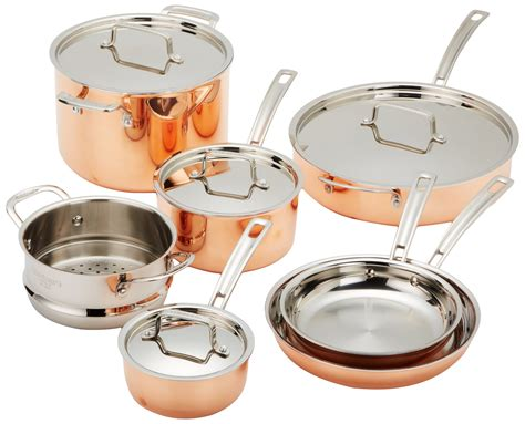 amazoncom cuisinart ctp  copper tri ply stainless steel  piece cookware set kitchen