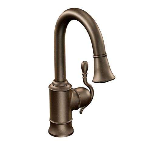 rubbed bronze kitchen faucet moen woodmere single handle bar faucet featuring reflex in
