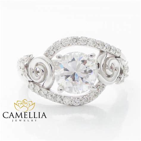 engagement rings flower design 14k white gold ring engagement rings leavs and