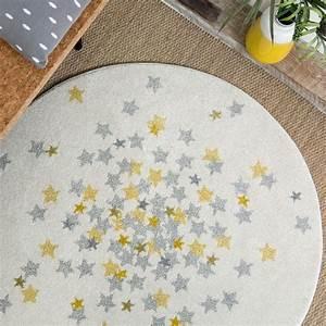 tapis nova rond etoiles grise et jaune chambre bebe par With tapis chambre bébé avec livraison fleurs france