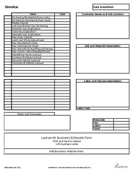 locksmith business invoice