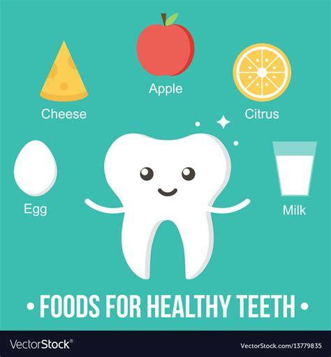 Foods for healthy teeth cartoon card Royalty Free Vector