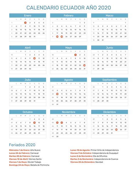 calendario de ecuador ano feriados
