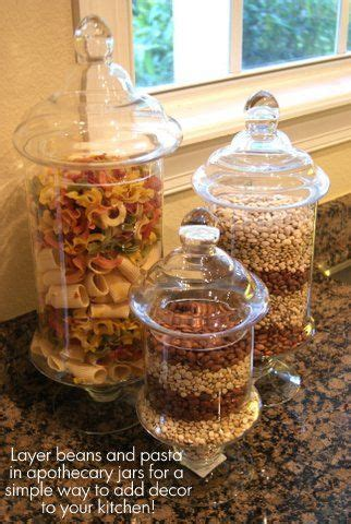 Jars Kitchen Decor apothecary jars filled with beans and pasta or popcorn