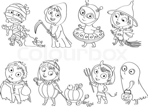 Happy Halloween. Funny Little Children In Colorful