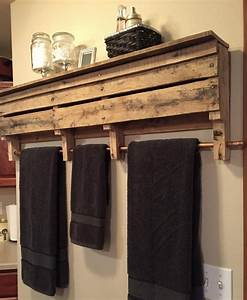 Rustic pallet wood furniture towel rack bathroom shelf