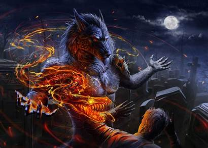 Wolf Werewolf Skull Deviantart Wallpapers Flame Digital
