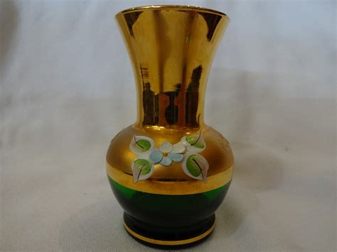 Green Vases For Sale by Small Green And Gold Vase For Sale Antiques