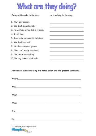 English Worksheet Present Continuous Tense