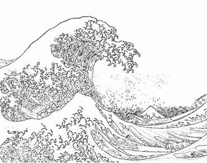 Coloring Ocean Pages Waves Wave Hokusai Printable