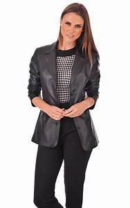 Blazer Femme Noir : veste blazer cuir femme la canadienne la canadienne ~ Preciouscoupons.com Idées de Décoration