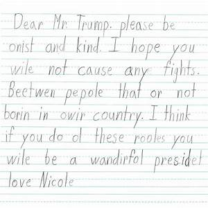 first grade students wrote these letters to donald trump With letters with pictures on them