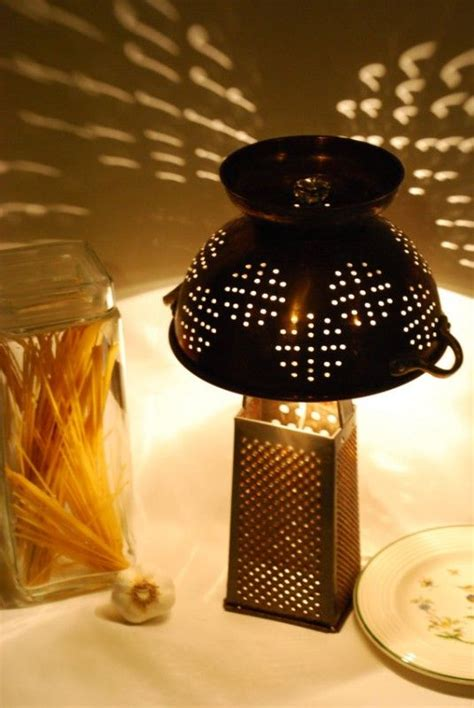 Kitchen Grater Lights by Rustic Recycled Cheese Grater And Colander Table L