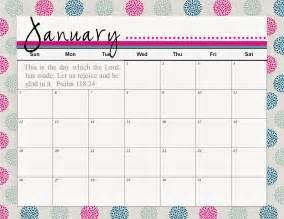 Cute Printable Month Calendar January 2017