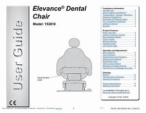 Elevance Dental Chair Model 153810 Users Guide Rev J March