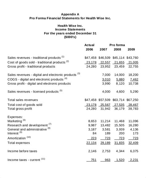 pro forma income statement template income statement template 9 free excel pdf documents free premium templates