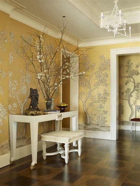 golden yellow botanical wallpaper foyer interiors  color