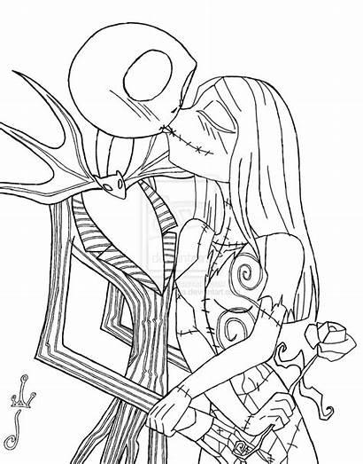 Sally Jack Coloring Skellington Kissing Printable Nightmare