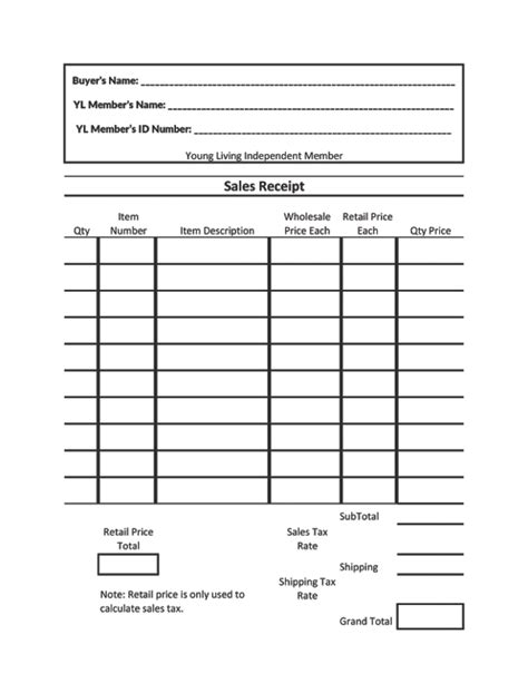 16545 sle order form living sales receipt offered as an excel sprea