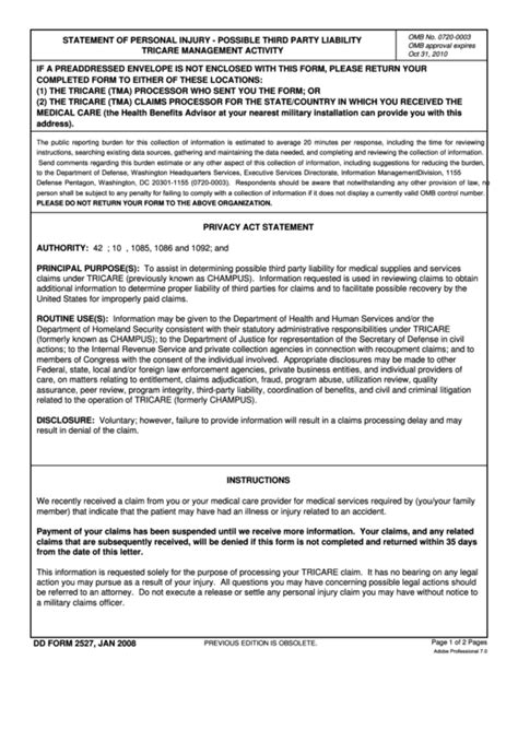 Dd Form 2527 1 Printable