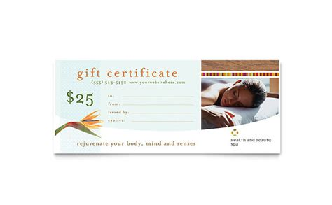 health beauty spa gift certificate template word