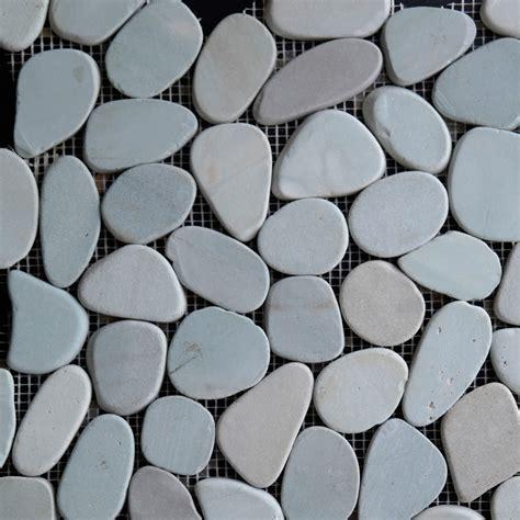 green sliced pebble mosaic tile