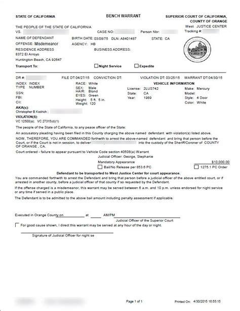 Bench Warrant Jury Duty by Orange County Bench Warrant Attorney Arrest Warrants