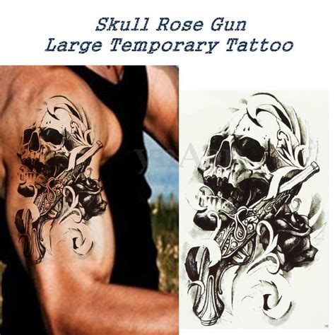 skull rose gun large temporary tattoo arm body removable waterproof sticker ebay
