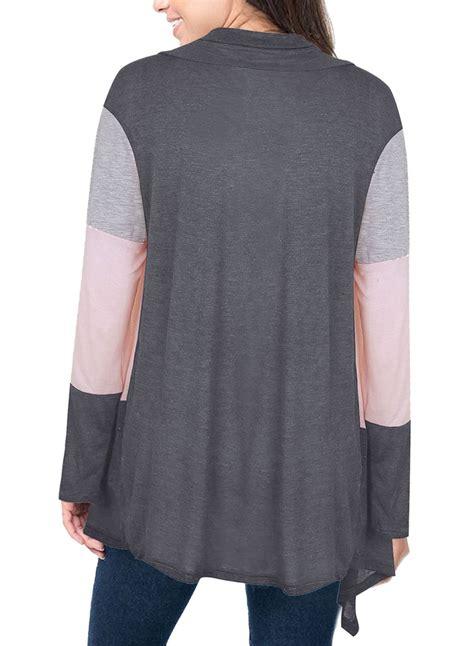Shawl Neck Colorblock Long Sleeve Cardigan Inxcy