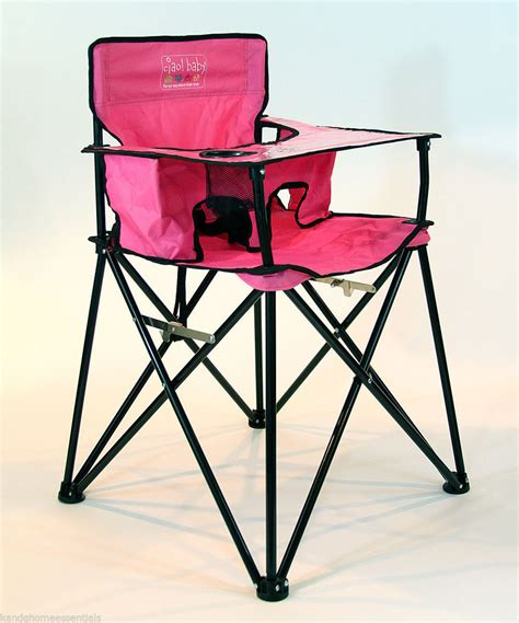 Pink Folding Portable Travel High Chair Camping Chair