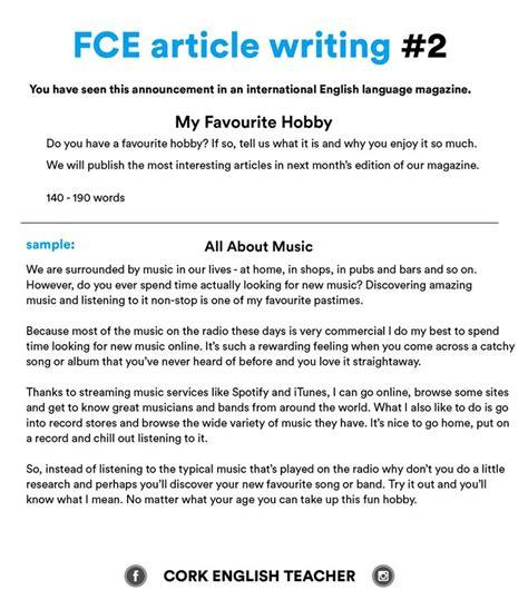 fce exam writing samples  favourite hobby english