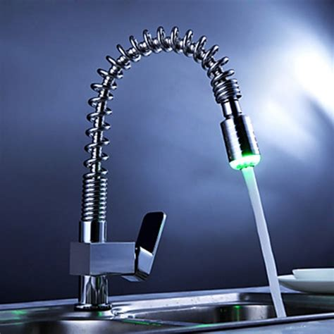 single handle pull kitchen faucet with color changing