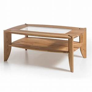 Robyn wooden coffee table in knotty oak with glass top for Wood coffee table with glass insert
