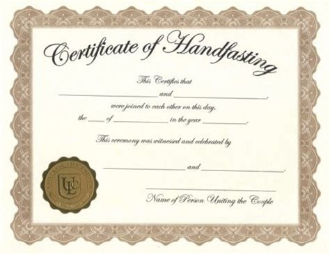 certificate of wiccan ordination template free handfasting certificates hand fasting pinterest