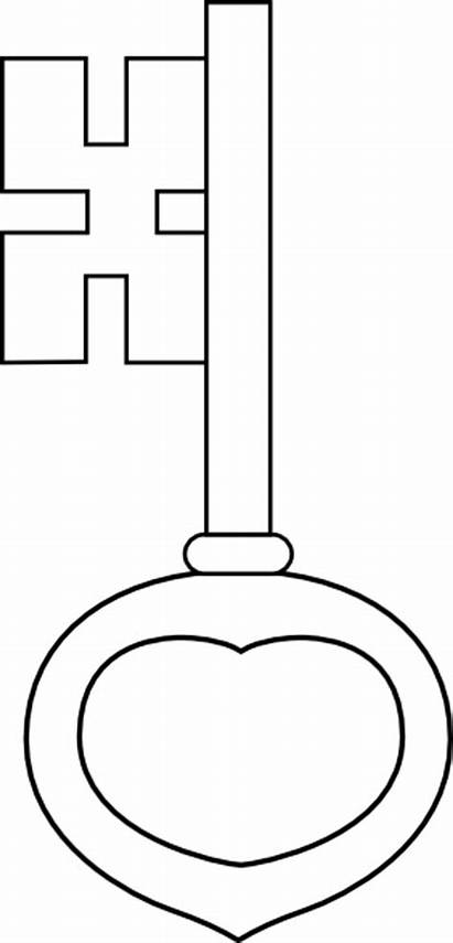 Key Clip Outline Clipart Vector Svg Coloring