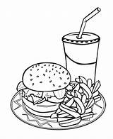 Coloring Food Junk Pages Printable Burger Drink Popular sketch template