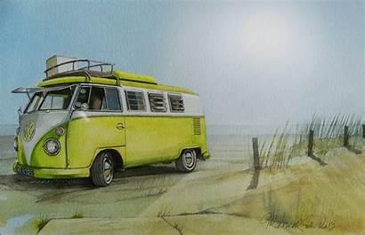 Vw Bus Volkswagen Sea Beach Yellow Type