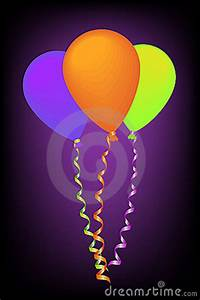Neon Color Balloons With Ribbons Royalty Free Stock