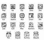 Mayan Zodiac Signs Symbol Calendar Numbers Glyph