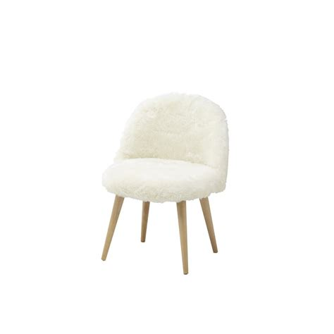 chaise fourrure faux fur and solid birch vintage child 39 s chair in ivory