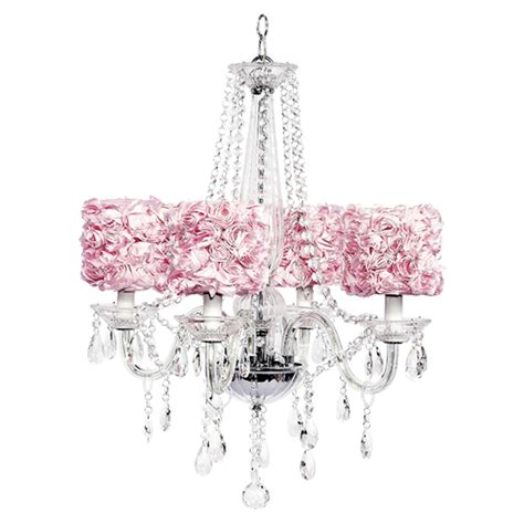 four arm middleton glass chandelier with pink garden