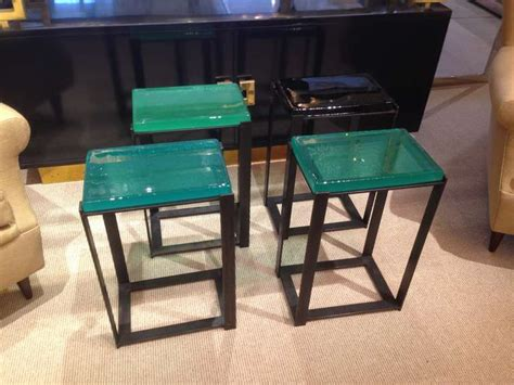 colored glass table ls exceptional hand molded colored glass top side tables at