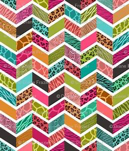 Animal Print Chevron Springtime Palette fabric run